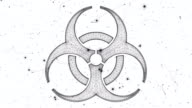 Biohazard symbol from a Particle Vortex