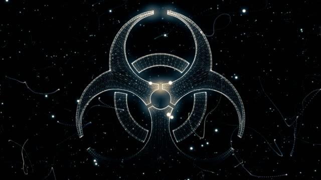 Biohazard symbol från en partikel Vortex