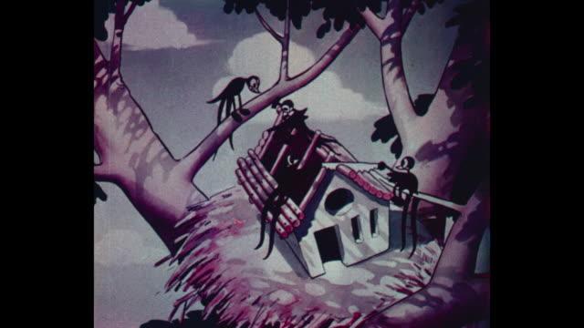Birds build a house with a saw