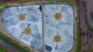 A birds eye view of a sewage treatment plant processing effluent.