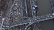 Bird's eye view of traffic on the Alexander Hamilton Bridge between the Bronx and Washington Heights in New York City.