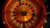 Birdseye CU of Roulette Wheel Spinning