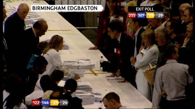 Brief shot of second recount of votes underway for Birmingham Edgbaston constituency