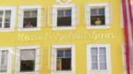 ZOOM IN Birthplace of Wolfgang Amadeus Mozart in Salzburg
