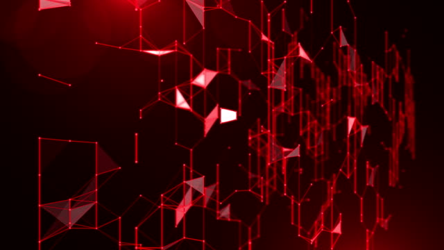 Black Abstract 3D Futuristic Network Background, red color theme