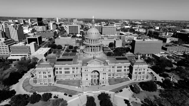 Black and white Aerial View Looking Down on Texas State Capitol Building Sunny Day in Austin , Texas