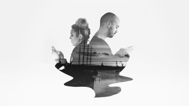 Black and White Double Exposure Couple