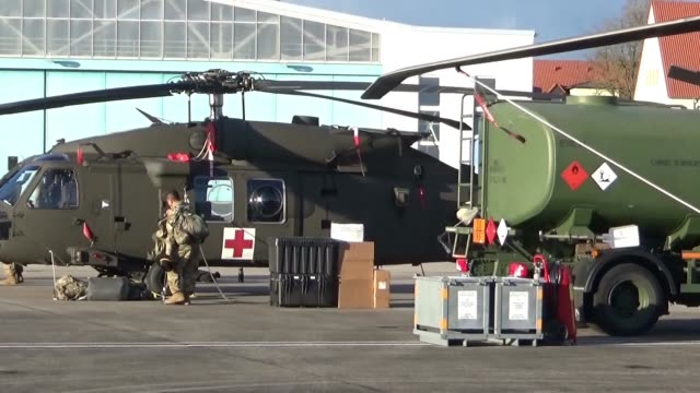 Black Hawk and Chinook helicopters from the 2227th Aviation Regiment 1st Air Cavalry Brigade from Fort Hood Texas arrive at Katterbach Army Airfield...