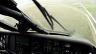 Black Hawk copilot looking down, flying w/ windshield wipers.