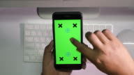 Black Smartphone on Desk with Chroma Key, Point of view