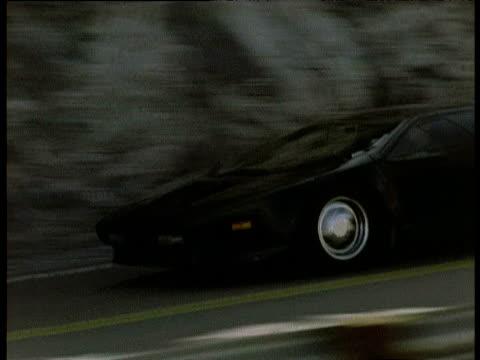 Black sports car on road, USA
