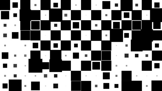 CHESSBOARD PATTERN : black squares, chaotic progress, finally erased (TRANSITION)