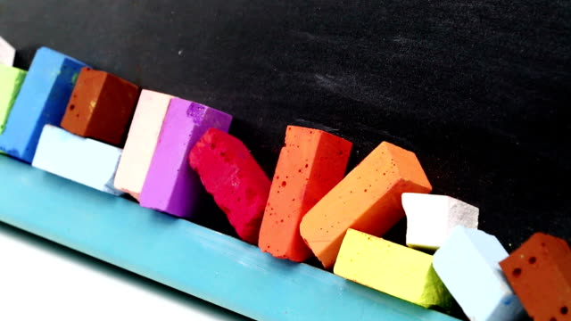 Blackboard with colorful chalk