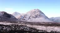 Blackrock Cottage and Buachaille Etive Mor in the Scottish Highlands.
