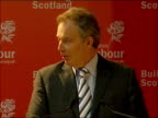 Speech Tony Blair MP speech SOT Pleased to be back in Glasgow / Going to visit place where my father lived in Govan / Pays tribute to Jack McConnell...