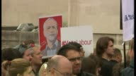 Blair says Corbyn can win an election Hampshire Southampton Various of people taking part in protest and holding placards in support of Labour Party...