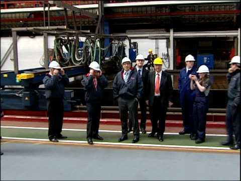 Blair walkabout in Govan INT Blair McConnell and others being shown around shipyard works by Dobie Frew and BAE Systems officials including equipment...