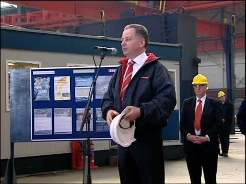 Blair walkabout in Govan McConnell Blair and Emery along to display about Type 45 Destroyer then Vic Emery speech SOT Introduces McConnell Jack...
