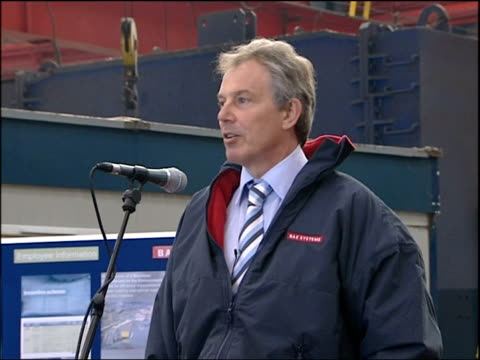 Blair walkabout in Govan Tony Blair MP speech SOT On his father's upbringing in Govan and father's foster father's casual work in shipyard / On...