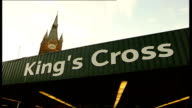 Blair warning Kings Cross LA King's Cross sign above station entrance LMS Police officers talking to men on street CMS London Underground sign BV...