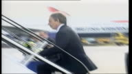 London Heathrow Airport Prime Minister Tony Blair MP up steps to aircraft for flight to USA for meeting with President George W Bush PAN British...
