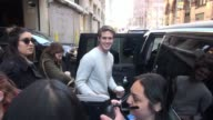 Blake Jenner promoting 'Everybody Wants Some' leaving AOL poses for a photo before getting into his car at Celebrity Sightings in New York on April...