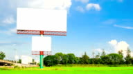 blank advertising billborad on paddy field