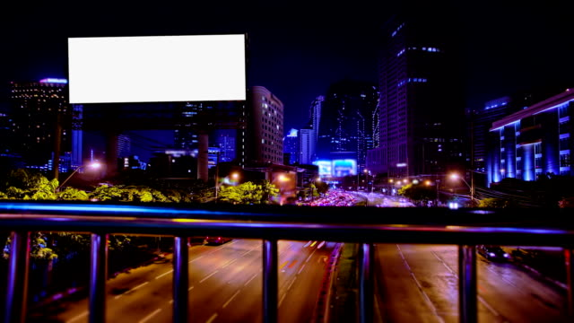 Blank Billboard with Street Traffic