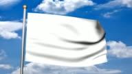 3D  Blank White Flag
