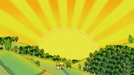 Blazing sun over a doodled rural landscape, loopable
