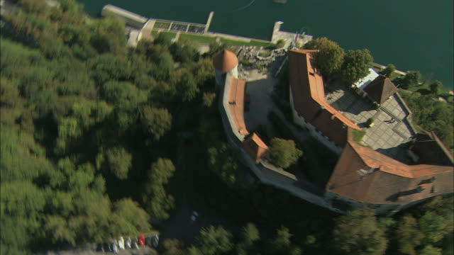 AERIAL Bled Castle and lake Bled / Slovenia