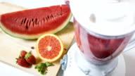 Blender with fruits