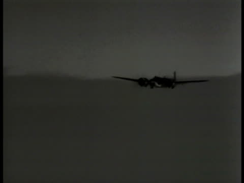 AERIAL Blenheim IV Bomber plane flying VS Bomber airplanes flying through clouds German soldiers in open bunker hole large binoculars German soldiers...