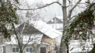 Blizzard in der ukrainischen village.