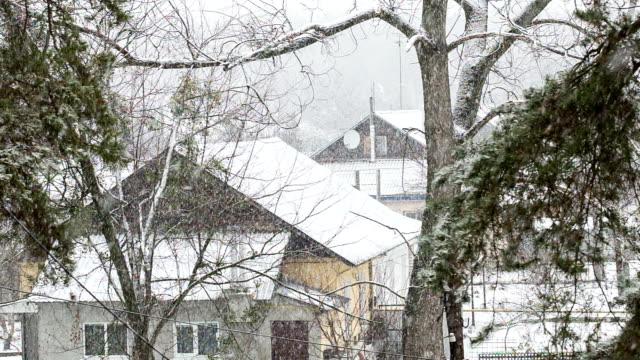 Blizzard in het Oekraïense dorp.