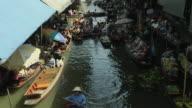 Block Shot Aerial View Floating Market Bangkok Thailand