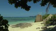 Block Shot Beach Rocks Praslin Seychelles