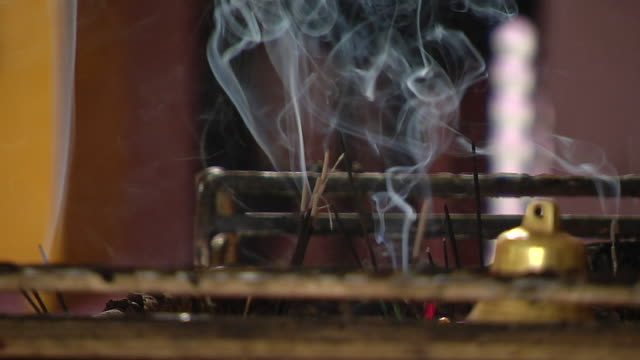 Block shot burning incense sticks naina devi temple uttarakhand