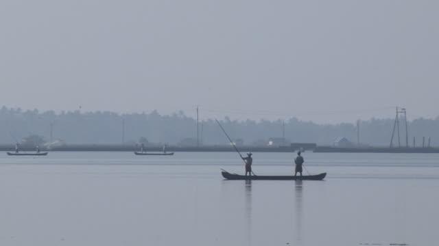Block Shot Fishermen Backwaters Cochin Kerala India