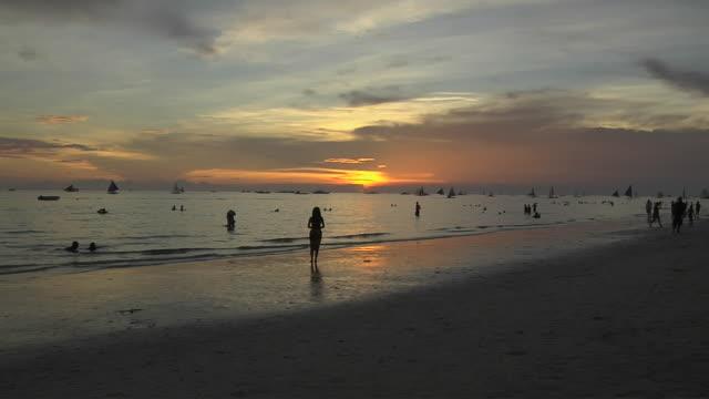 Block Shot Sunset At Sea Boracay Aklan Philippines