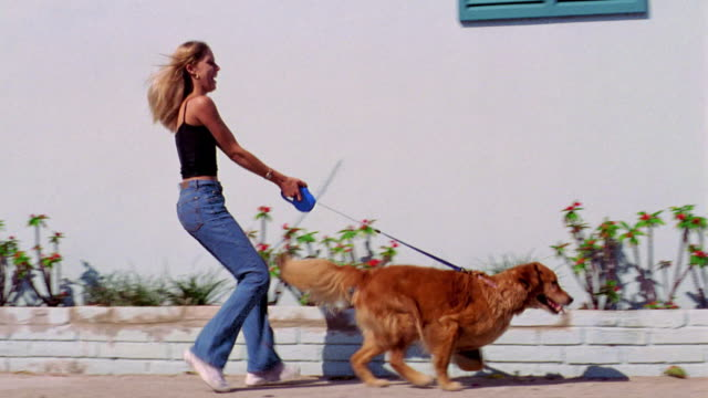 PAN blond teen girl being pulled by dog on leash past building