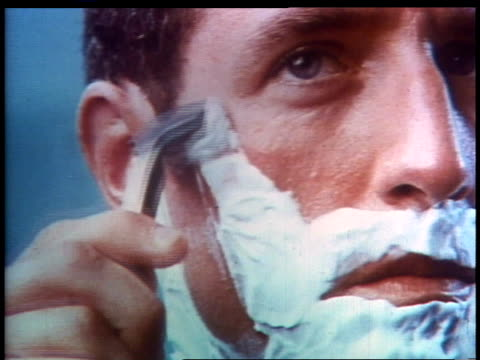 MONTAGE blonde with Swedish accent talking about Noxzema shaving cream, man shaving