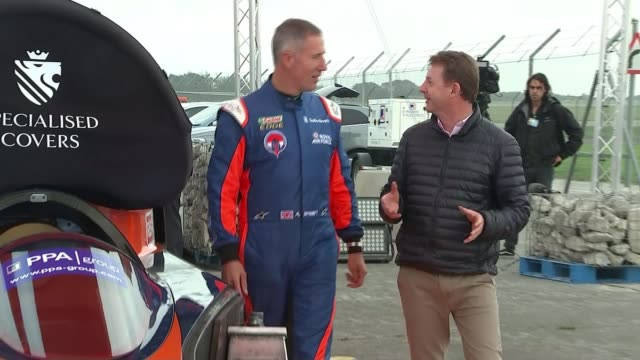Bloodhound supersonic car attempts to break land speed record Reporter along with Green Andy Green interview SOT