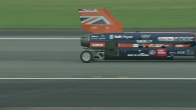 Bloodhound supersonic car attempts to break land speed record Car along runway