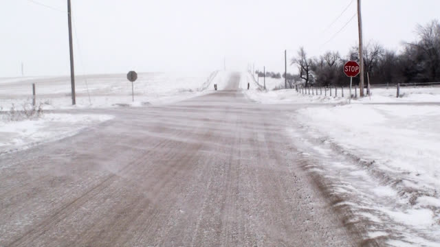 Blowing Snow Over Country Intersection