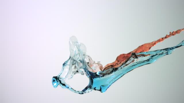 CU SLO MO Blue colored liquid splashing in air