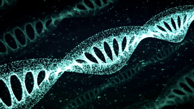 Blue DNA Strand slow motion - 3D Animation