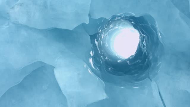 Blue ice tunnel in Alaska
