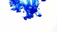 blue ink drop splatters in water