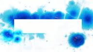 Blue Ink splatter on white.